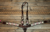 Breastcollar/Headstall Set; Pink Bling