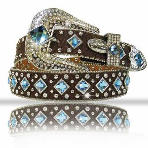 BELT; Brown with Blue Crystals