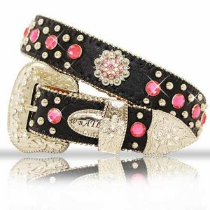 BELT; KIDS; Black with Pink Crystal Conchos