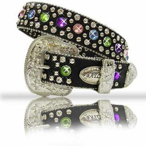 BELT; KIDS Black with Multi Colored Crystals