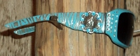 SUNGLASSES; blue turquoise zebra with barrel racer conchos