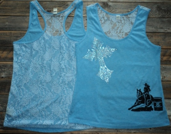 Lace Back Tank Crystal Cross Barrel Racer