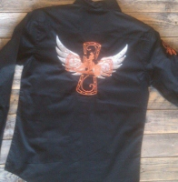 Barrel Racer Cross with Wings Rodeo Shirt