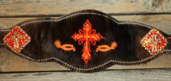 Bronc Halter; Tribal Cross with Bling Cross Conchos
