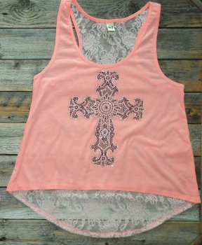 HIgh Low Lace Back Tank Crystal Cross