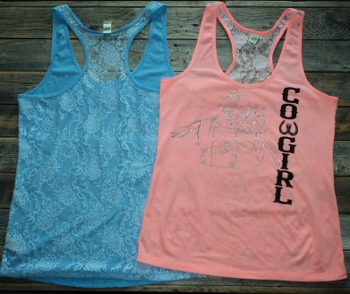 Lace Back Tank Cowgirl Barrel Racer