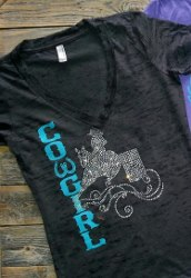 Burnout T; Cowgirl with bling barrel racer