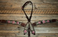 Breastcollar/Headstall set; fuschia & pink crystal conchos