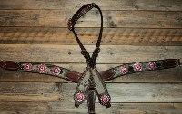 Breastcollar/Headstall set; fuschia & pink crystal conchos