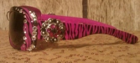 "Zebra Sunglasses, Fuschia with 1"" Crystal Concho"