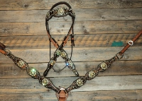 Breastcollar/Headstall Set; Dk Brown Croc