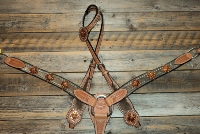 Breastcollar/Headstall Set; Copper Diamond