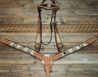 Breastcollar/Headstall Set; Dark Rowel