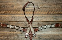 Breastcollar/Headstall set; zebra crystal conchos