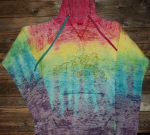Hoody; Multi Colored Tie Dye with Bling Barrel Racer