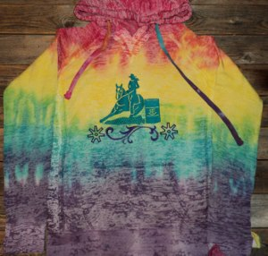 Hoody; Multi Colored Tie Dye Hoody with Embroidered Design
