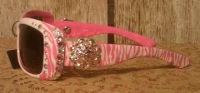"Zebra Sunglasses, Pink with 1"" Crystal Concho"