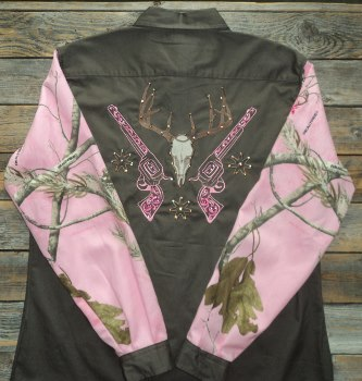 Rodeo Shirt Deer Skull and Pistols