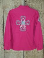 Rodoe Shirt; Barrel Racer Ribbon Cross
