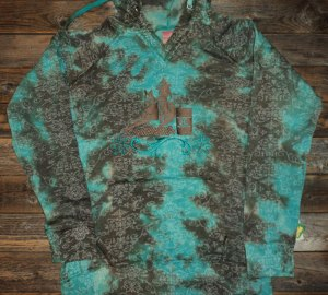 Hoody; Turquoise & Brown Tie Dye Embroidered Hoody